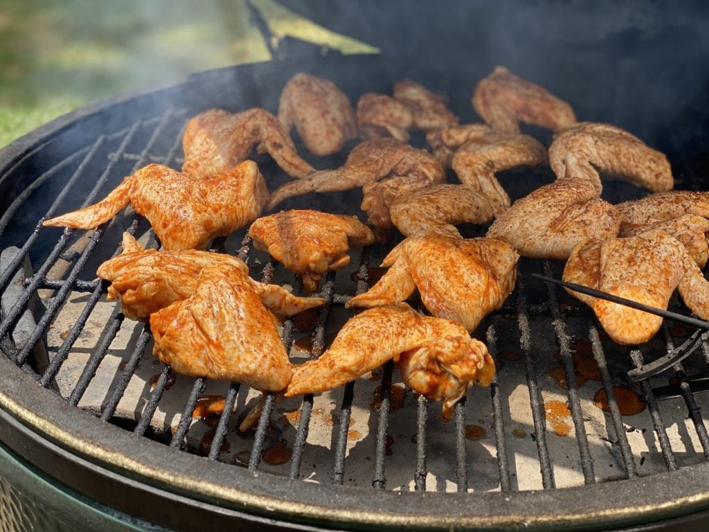 Spicy Smoked Chicken Wings on the grill