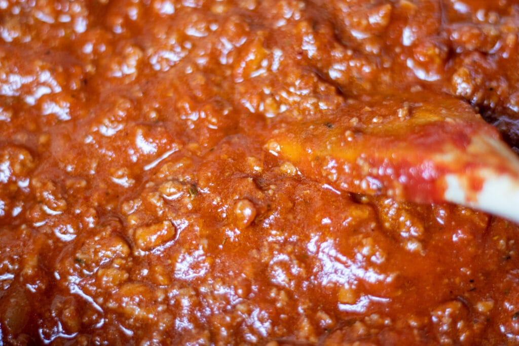 Close up of red spaghetti sauce