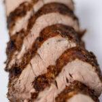 Close up shot of sliced pork tenderloin